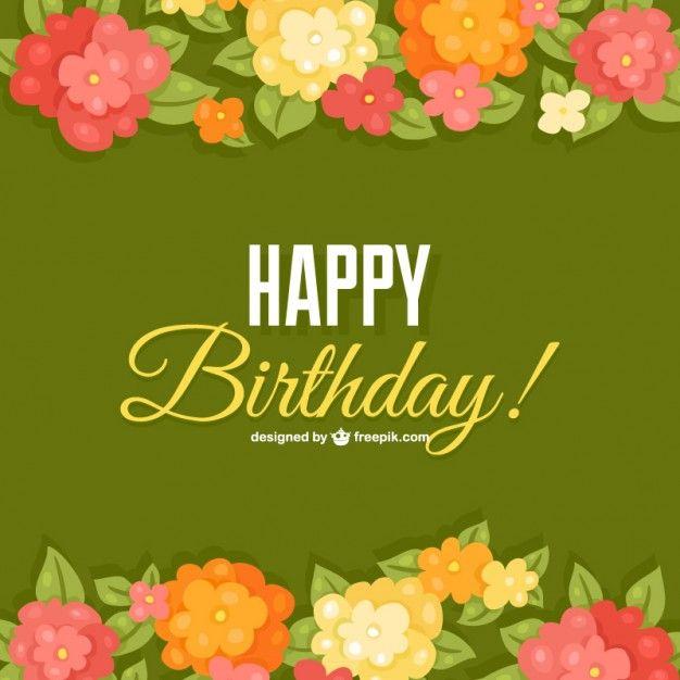 Modelo de cartão de aniversário flores Vetor grátis