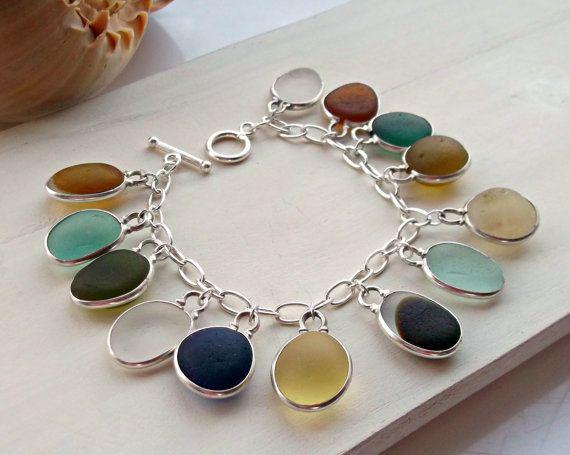 Sterling Silver Sea Glass Charm Bracelet