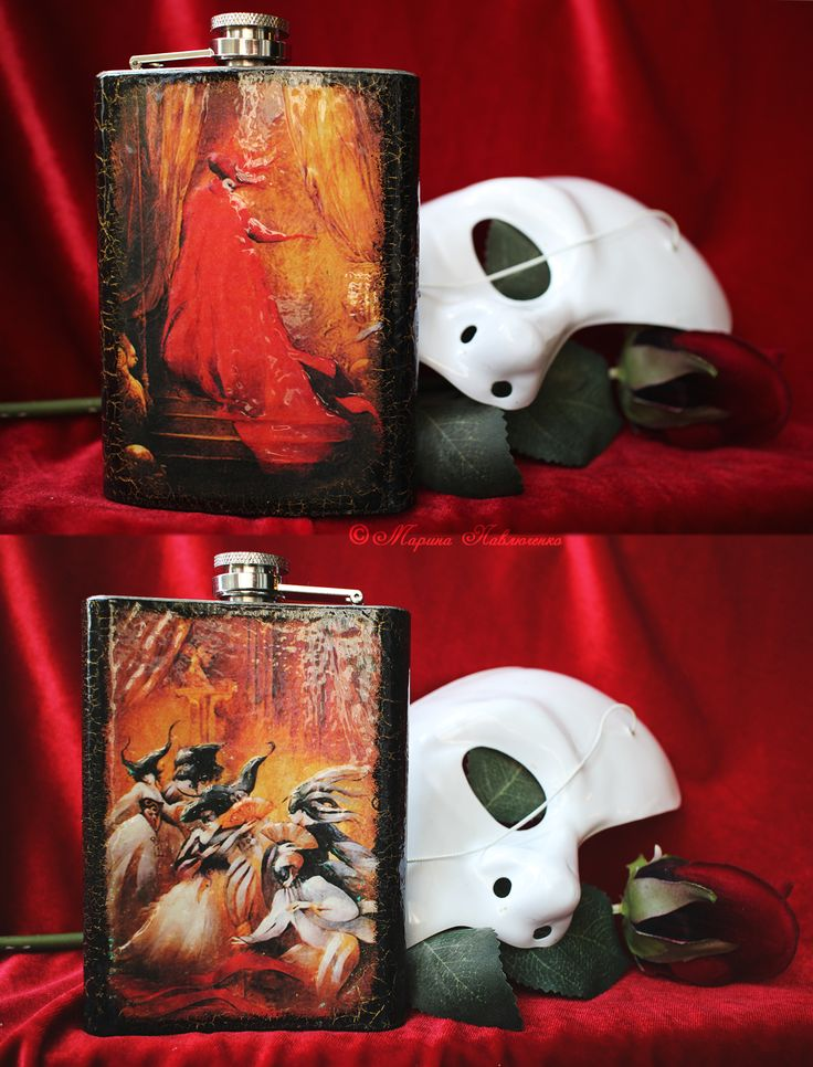 """Stainless Steel Flask """"Masquerade"""". 8-Oz, handmade, decoupage. Inspired by the musical """"The Phantom of the Opera"""" and the illustrations of Anne Bachelier."""