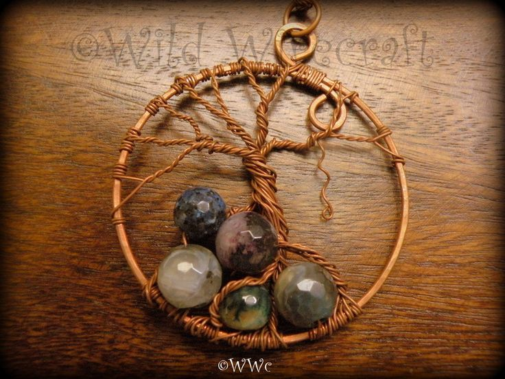 Wire Wrapped Tree of Life Pendant,Handmade Jewelry,Chip Stones,Copper, Wire Tree Jewelry by WildWirecraft on Etsy