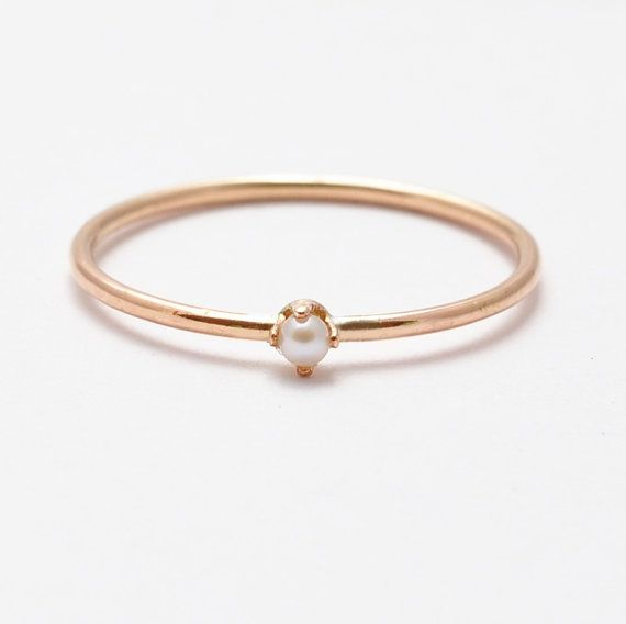 Pearl Ring: Rose Gold Solitaire, Valentines Gift Ideas for Women – emm… a
