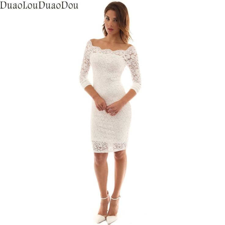 Lace Hollow Out Long Sleeve Pencil Dress Sexy Slim Slash Neck Off Shoulder Women White Mini 2017 Summer Plus Size Club Dresses #Affiliate