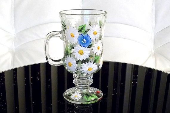 Hand Painted Irish Coffee Mug Daisies Ladybug Forget-me-not Flowers Bee Hand Painted Glassware Personalized Painted Mugs Custom Tea Cups (painted by Helen Krupenina)