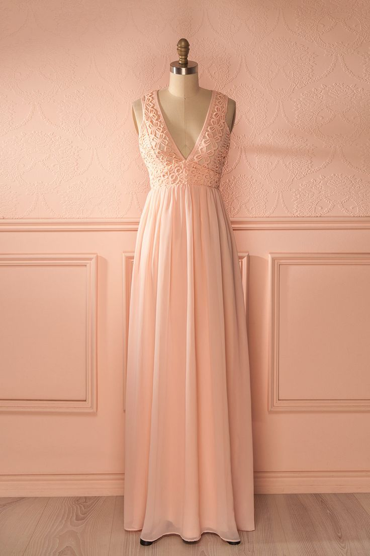 Longue robe rose clair haut dentelle - Lace top baby pink maxi dress
