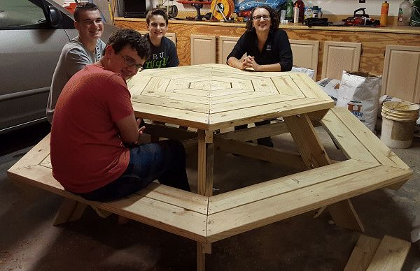 hexagonal picnic table made by Ryan Parmenter 1