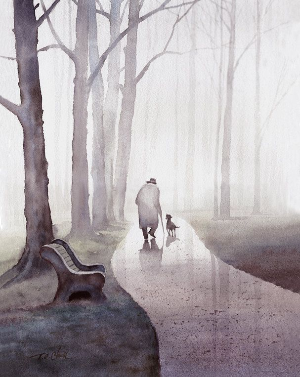 Original Watercolor Archival Print Man Dog Friendship by TCChiu
