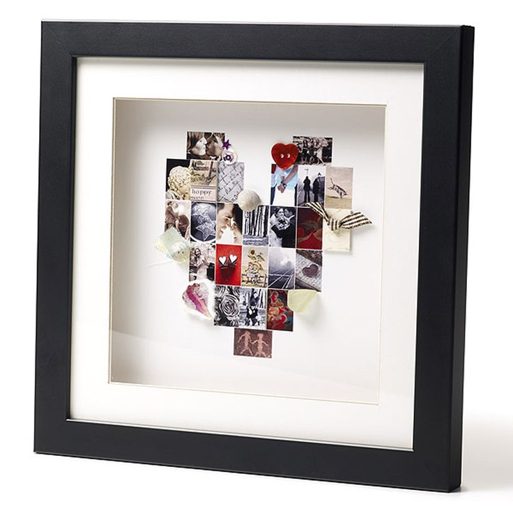All manner of items can be used to create this heart memory frame from memorable photos to ticket stubs you've collected from events.