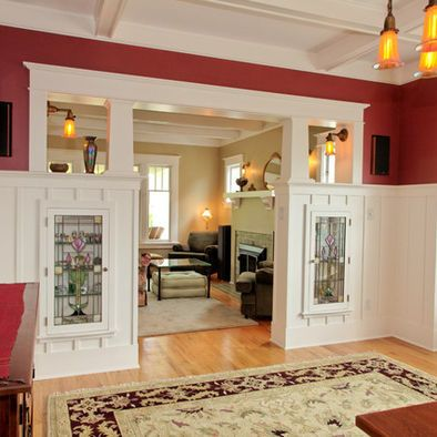 Craftsman homes are just awesome!  Knock out other fireplace as entry into another room or extension of library.