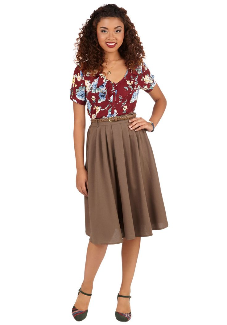 Breathtaking Tiger Lilies Skirt in Cocoa - Full, Fall, Winter, Good, Brown, Long, Woven, Solid, Work, Best Seller, Tan, Pleats, Pockets, Belted