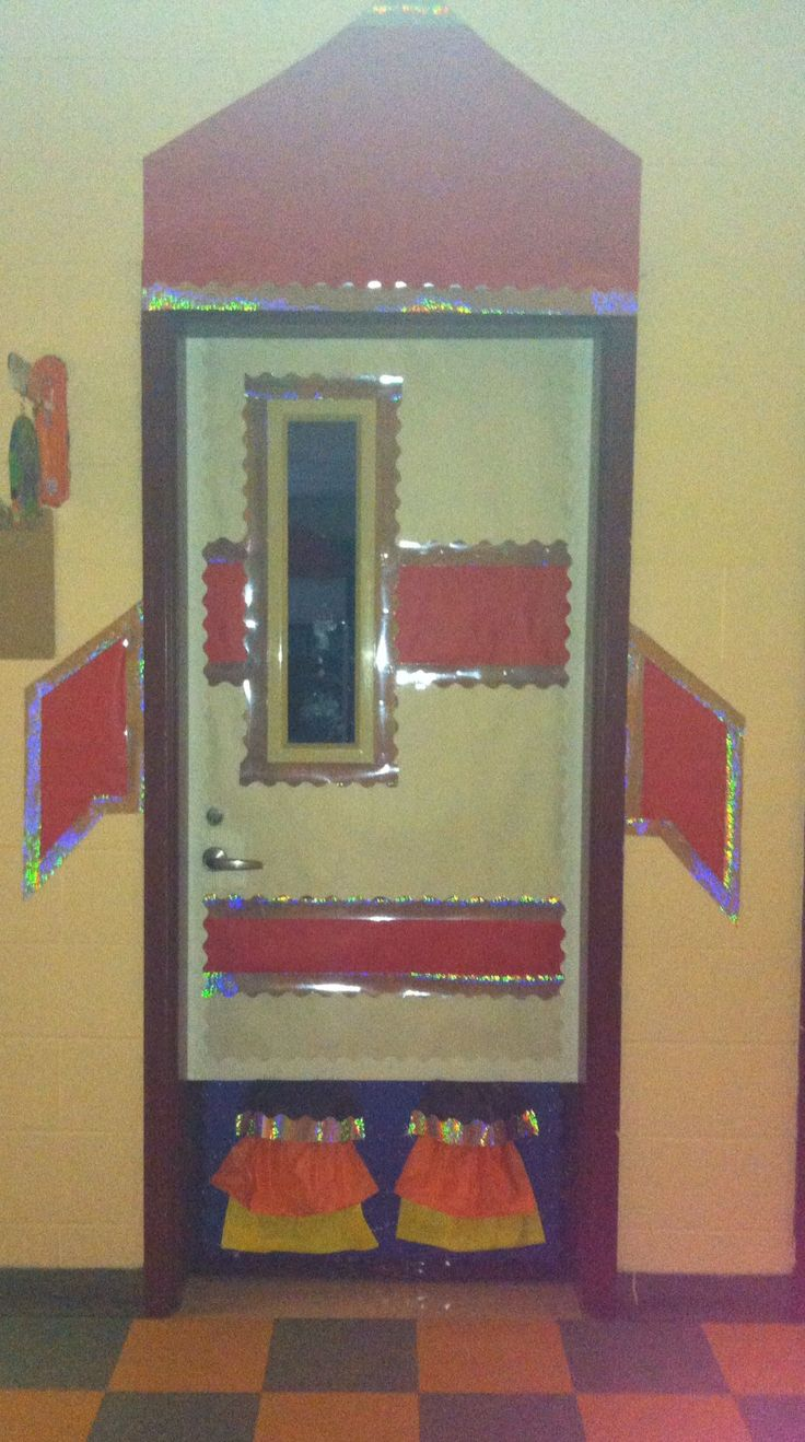 Space theme classroom. Blasting off to a new school year as we enter through the rocket door.