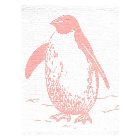 Pink Penguin Painting via LucyandTor on Etsy, $40