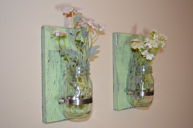 Set of 2 Shabby chic rustic style handcrafted wooden wall sconce for candles, flowers, household storage, etc with mason jar. $30.00, via Etsy.