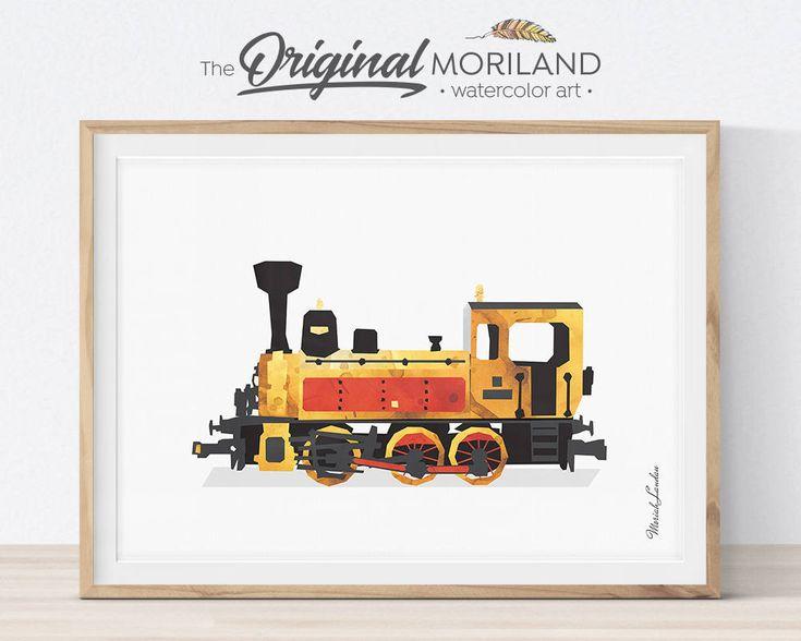 Steam Locomotive Print, Train Printable, Steam Engine Art, Transportation Nursery, Prints for Boys Room, Train Nursery Decor, Train Wall Art by MORILAND on Etsy