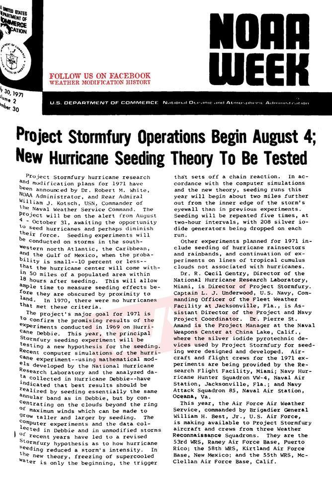 Project Stormfury NOAA Hurricane Seeding Experiment NOAA WEEK Journal 1971 Weather Modification History https://weathermodificationhistory.com