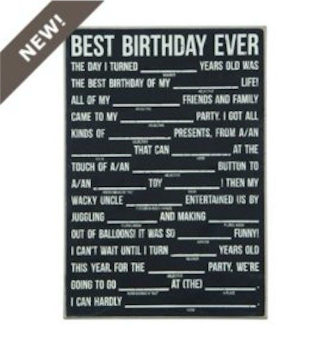 "Mad Lib ""Best Birthday Ever"" Chalboard"