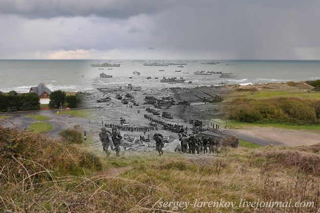 This is one of my favorite military history places I visited while stationed in Germany...........Normandy, France today blended with 1944.: World War Ii, War Photography, Military History, Wwii, Omaha Beaches, Sergey Larenkov, Dday, D Day, Travel Photography