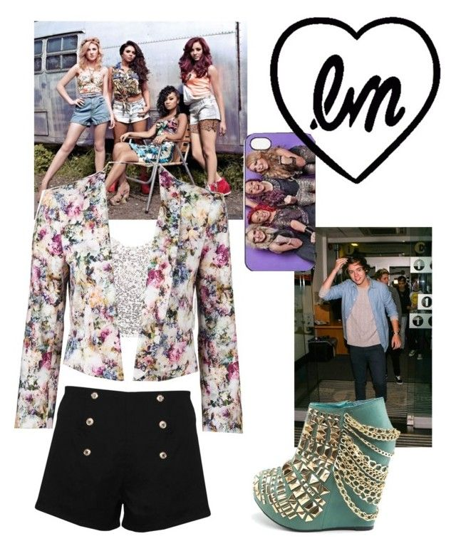 Little Mix concert w/ Harry <3 by mythicalmeli on Polyvore featuring polyvore, fashion, style, Club L, Forever New, Paprika, clothing, high waisted shorts, little mix, harry styes, floral pattern, ankle length booties and blazers