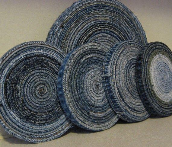 Posavasos y salvamanteles de Jean azul conjunto reasingado Denim Diseño Original hecho por encargo