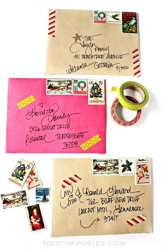 A fun and creative way for addressing Christmas Envelopes. Use washi tape, vintage stamps and stickers to make your Christmas cards stand out!: