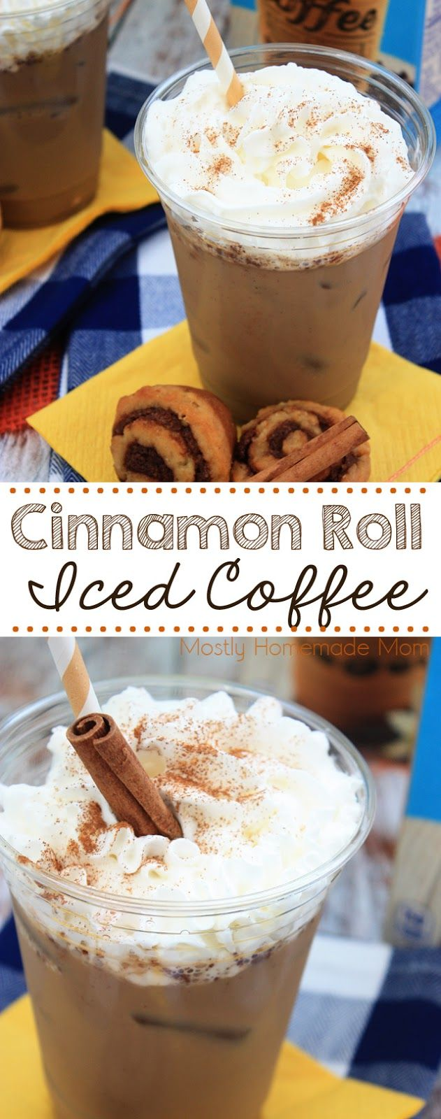 Cinnamon Roll Iced Coffee - With cinnamon and maple extract, this is one of my favorite, EASY iced coffee recipes! @InDelight #IDelight #ad