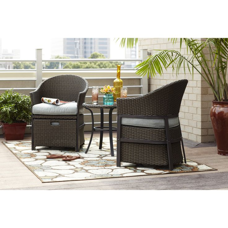 Shop Garden Treasures 5 Piece South Point Brown Steel Patio Conversation Set  With Solid Blue Cushions At Lowes.com | Lowes | Pinterest | Patio  Conversation ...