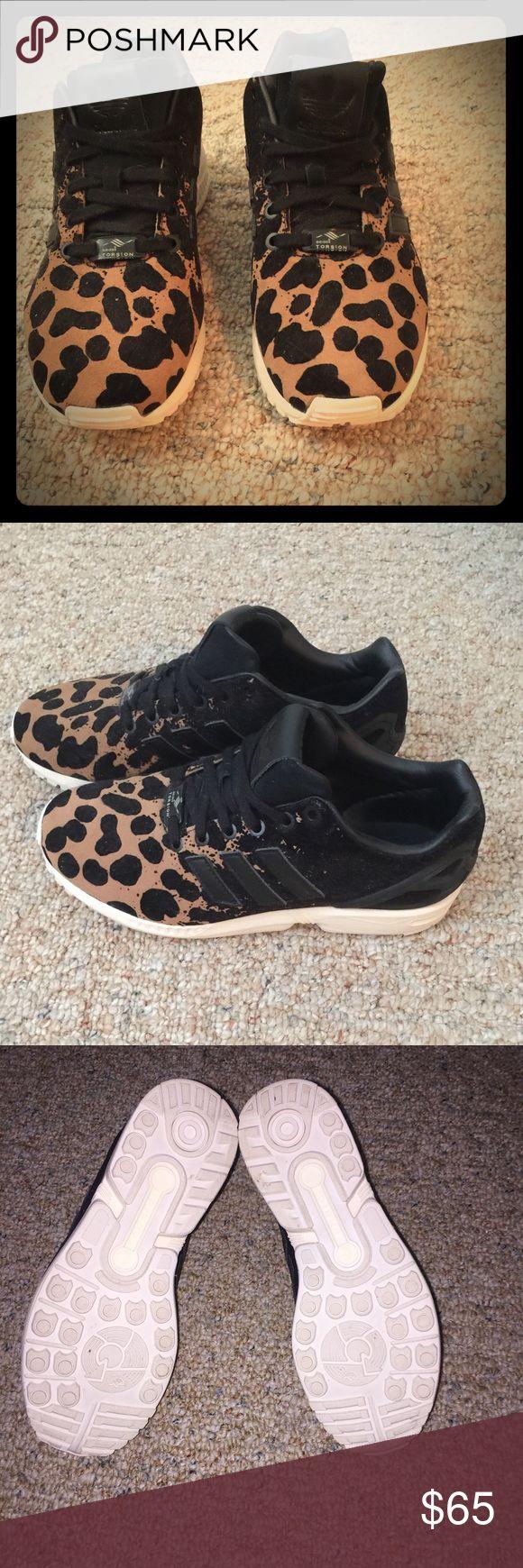Adidas ZX Flux leopard print running shoes. Size 8 Adidas running shoes. Worn once. adidas Shoes Sneakers