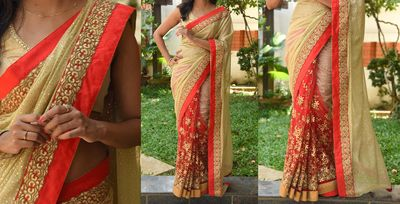 NEW LATEST BEIGE COLOR LYCRA DUEDROP SILK & NYLONE NET EMBROIDERY WORK SAREE Bollywood Sarees Online on Shimply.com