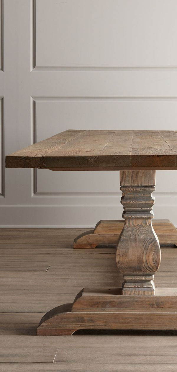 RUSTIC EXTENDING DINING TABLE WEATHERED PINE KITCHEN TABLE CHUNKY PEDESTAL BASE