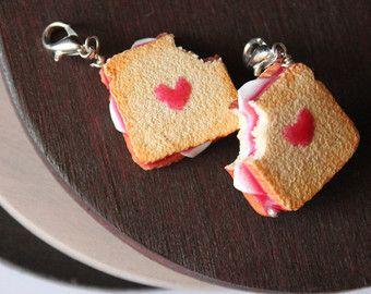 Polymer clay sandwich charm. Miniature food jewelry