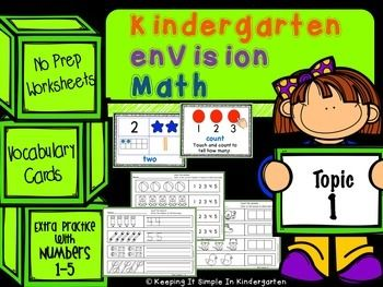 freebie Kindergarten enVision Math Topic 1