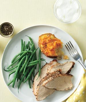 Roasted Turkey With Cheddar-Stuffed Potatoes: Food Recipes, Potatoes Recipes, Real Simple Recipes, Easy Dinners, Roasted Turkey, Turkey Dinners, Delicious Recipes, Cooking Recipes, Cheddar Stuffed Potatoes