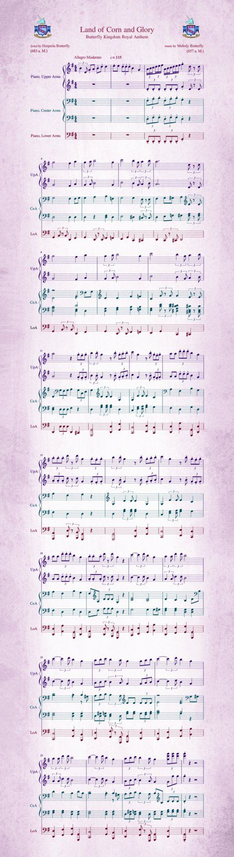 Composed by Princess Melody Butterfly, found years later by Queen Hesperia, who added a letter and made of it the anthem of the kingdom. No wonder, the score was written for music with six arms If ...