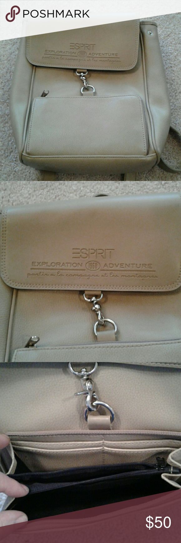 VTG ESPRIT Tan Leather Mini Backpack Purse The 90's are back, and what accessory says that better than a mini backpack purse. Great for traveling fashionistas or those of us who just want our handbag out of the way.   Bag measures 12 inches x 9 inches x 3 inches. This bag has been carried in the past and has many small blemishes seen in the photos. I've used leather conditioner to remove the worst of the marks, and I think continued care will improve the rest. Price reflects condition…