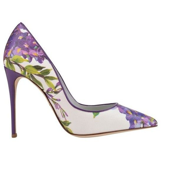 Dolce And Gabbana Floral Leather Court Shoes ($250) ❤ liked on Polyvore featuring shoes, pumps, purple floral, purple shoes, high heeled footwear, pointed toe high heel pumps, floral shoes and floral print pumps