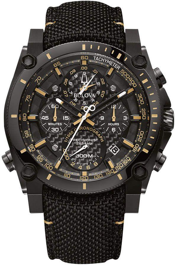 7b409de03ca Bulova Men s Chronograph Precisionist Black Cordura Nylon Strap Watch 46.5mm