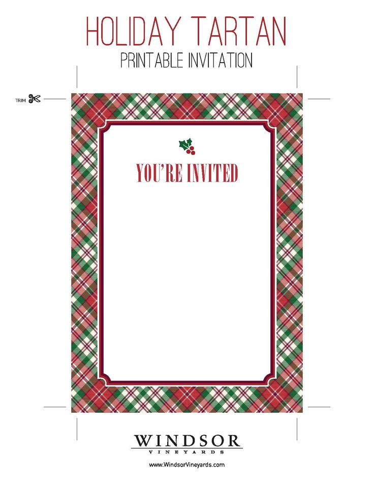 Printable Tartan Invitation for holiday parties & dinners. Download now for free!