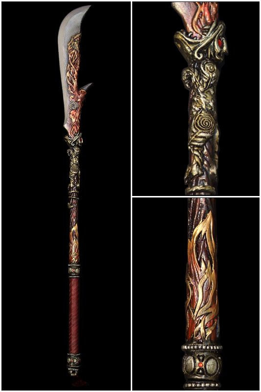 Short ceremonial halberd.  Ottoman (?), Its form is derived from the scythe (agricultural hand tool for mowing grass); in times of unrest, peasants would turn their hand tools into more effective weapons.