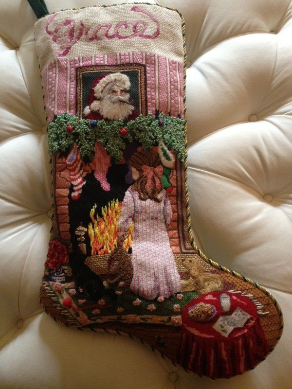 Our tradition since Katie was born, needlepoint Christmas stockings. Even more special when stitched by by mom.