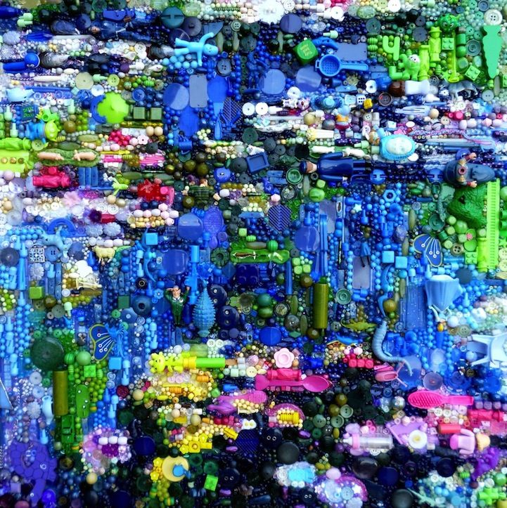 "found objects art (""Plastic Classics"" : ) ""1"" by Brit Jane Perkins • based on Monet's water lilies"