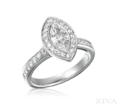 bezel set marquise diamond engagement ring with halo. Black Bedroom Furniture Sets. Home Design Ideas
