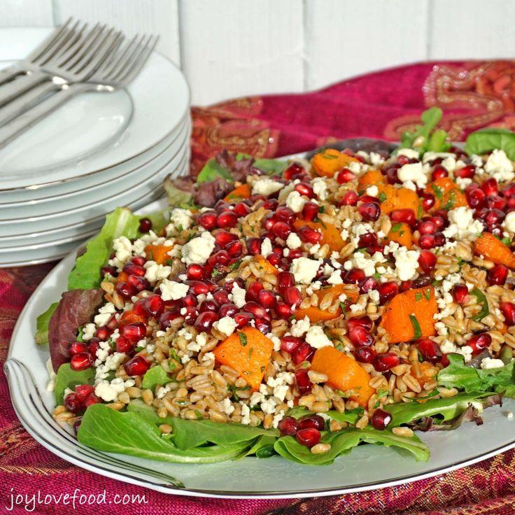 Farro Salad with Roasted Butternut Squash, Pomegranate and Gorgonzola ...