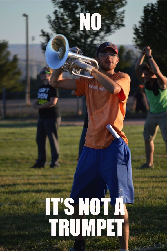 i swear if someone asks me why i play trumpet in marching band and not french horn, i might die