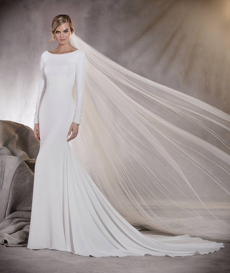 Alana - Vestido de novia de talle bajo, en crepe, escote barco