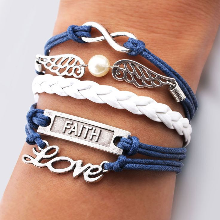 Cute Wings Love Faith Pearl Infinity Bracelets