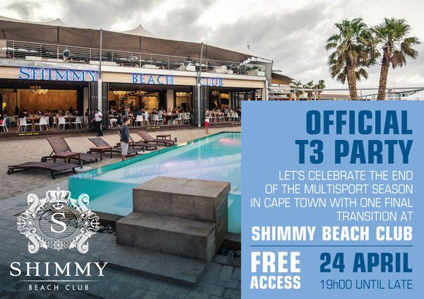 The World Triathlon season party - @WTS_CapeTown - takes place this Sunday, 24 April. Join us at Shimmy for the after party after 7pm! VIP tables: 021 200 7778