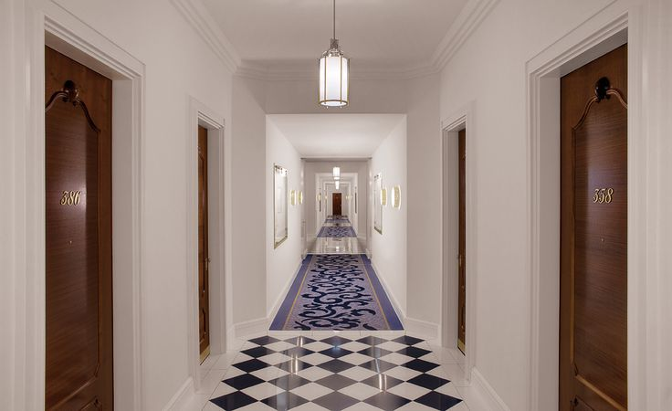 A very individual carpet adorns the corridors of this famous hotel.