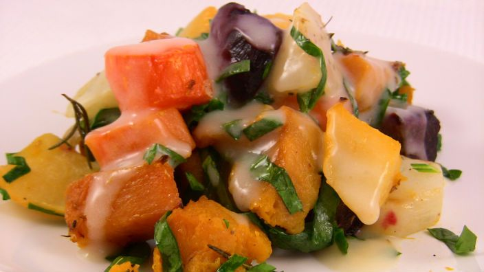 Winter Veges with Horseradish - gorgeous roasted root vegetables with creamy sauce
