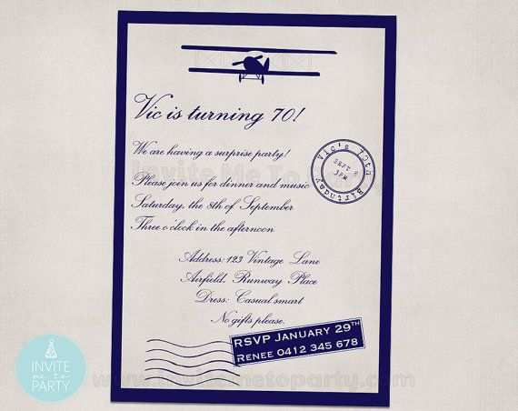 Vintage Airplane Invitation by InviteMe2Party on Etsy, $12.00