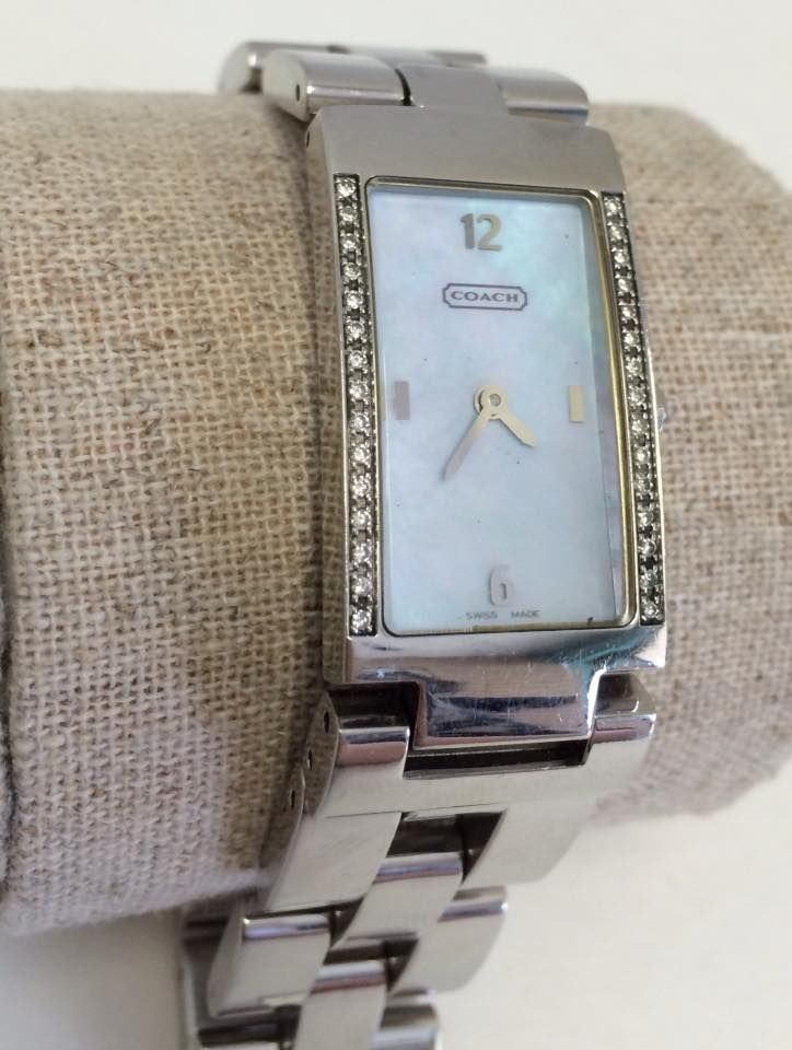 Coach Diamond Bezel With Mother Of Pearl Face. Stainless Steel Band. 15  Diamonds