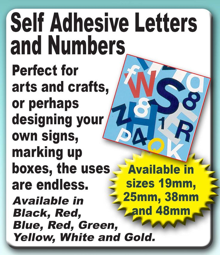 Self Adhesive Letters and Numbers. Perfect for a range of applications. Get yours in different colours and sizes today! www.directa.co.uk